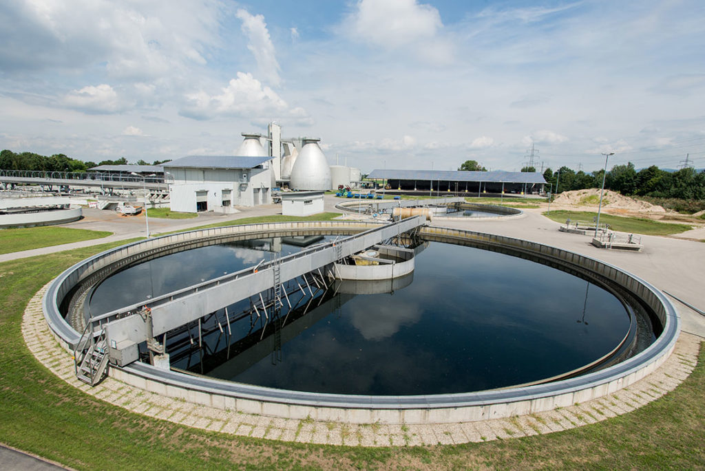 Sewage treatment plant with wastewater in Germany