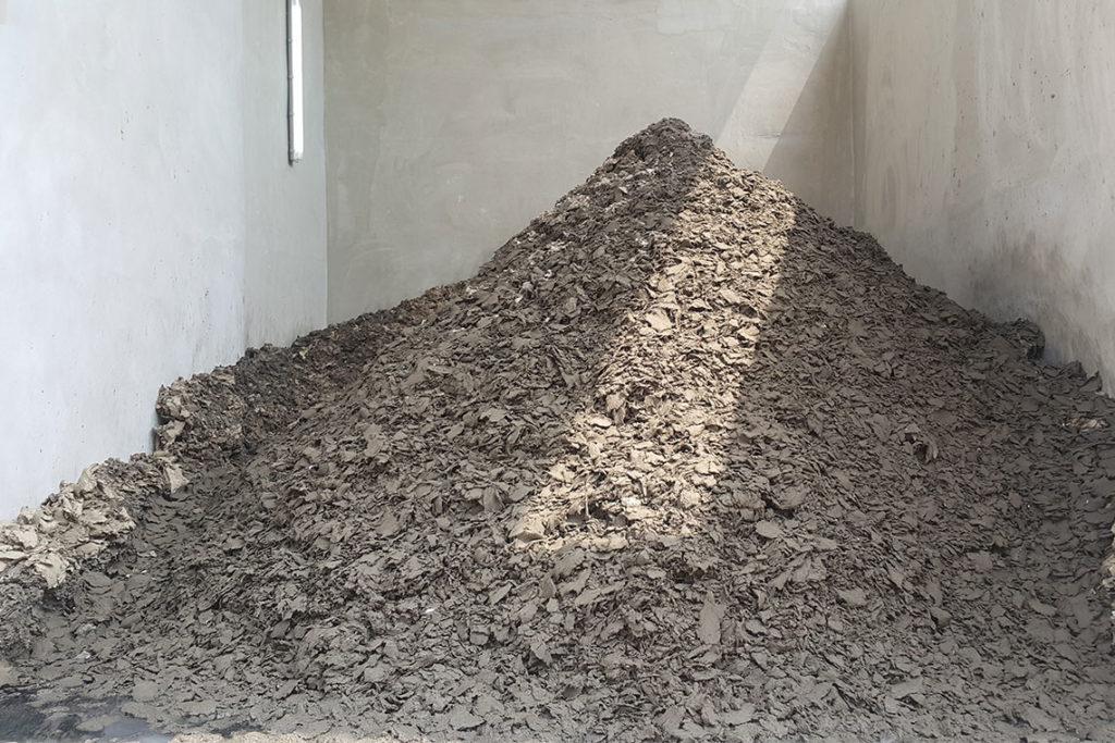 Sewage sludge dried from sewage treatment plant
